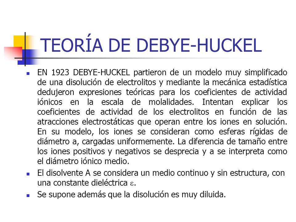 TEORÍA DE DEBYE-HUCKEL EN 1923 DEBYE-HUCKEL partieron de un modelo muy simplificado de una disolución de electrolitos y mediante la mecánica estadísti