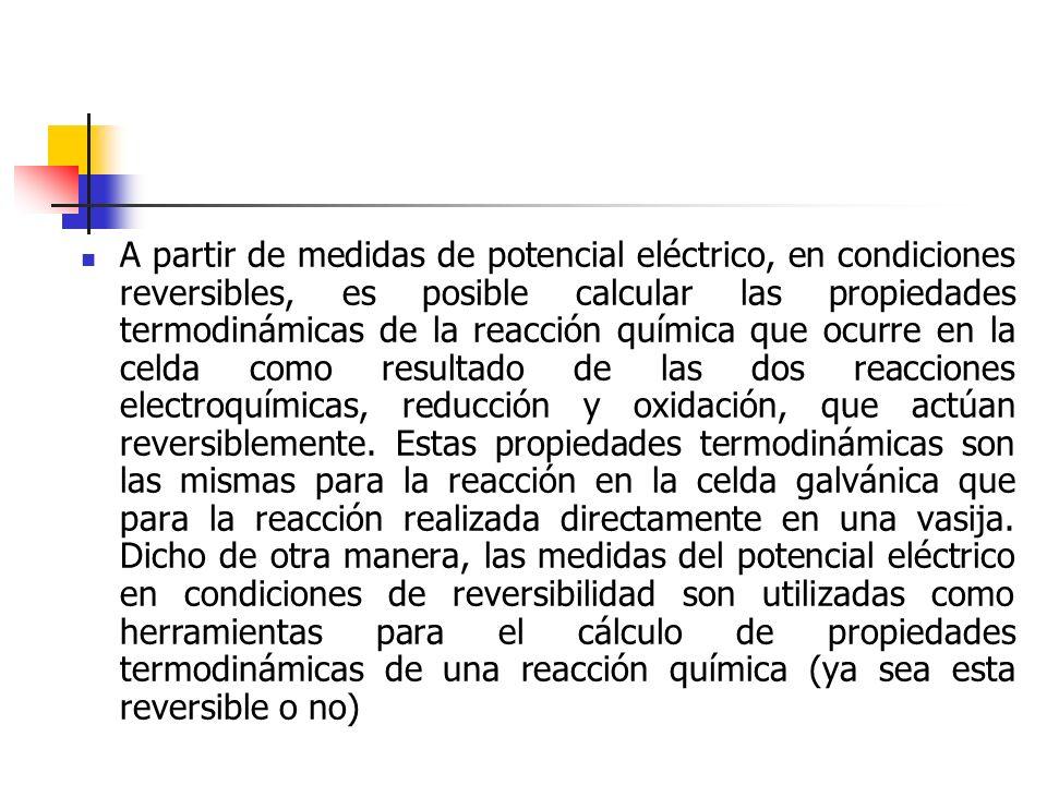 A partir de medidas de potencial eléctrico, en condiciones reversibles, es posible calcular las propiedades termodinámicas de la reacción química que