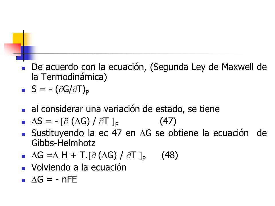 De acuerdo con la ecuación, (Segunda Ley de Maxwell de la Termodinámica) S = - ( G/ T) P al considerar una variación de estado, se tiene S = - ( G) /