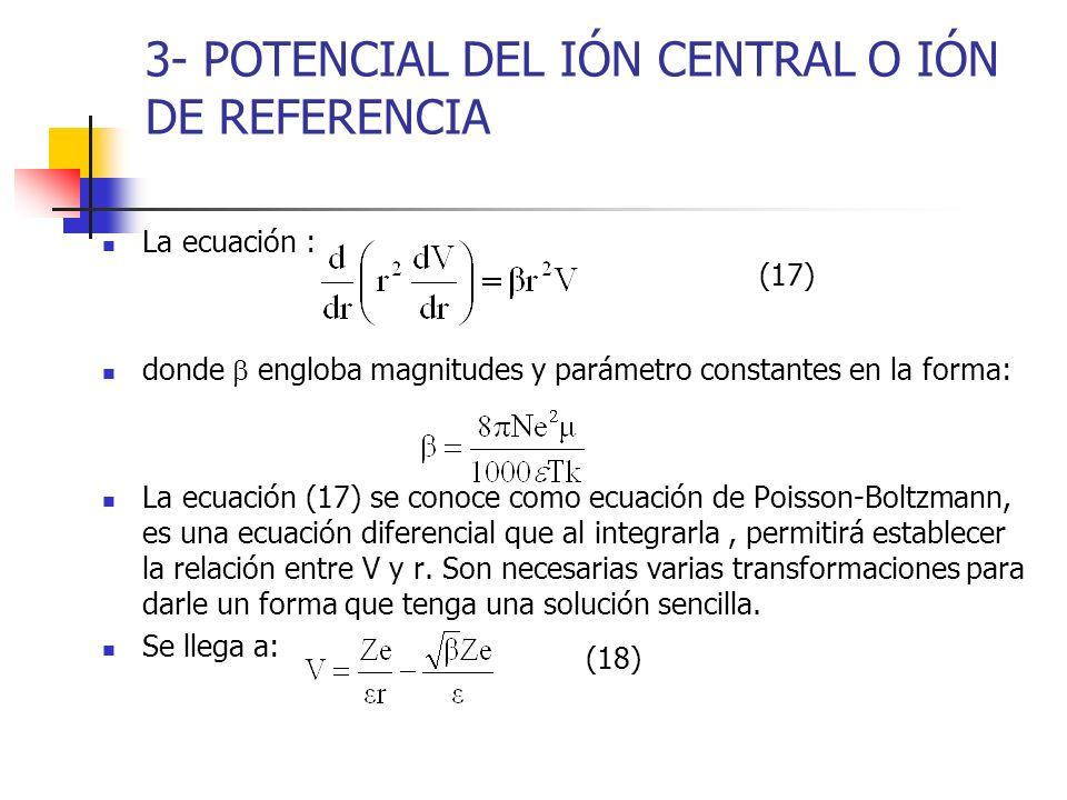 3- POTENCIAL DEL IÓN CENTRAL O IÓN DE REFERENCIA La ecuación : donde engloba magnitudes y parámetro constantes en la forma: La ecuación (17) se conoce