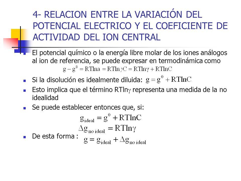 4- RELACION ENTRE LA VARIACIÓN DEL POTENCIAL ELECTRICO Y EL COEFICIENTE DE ACTIVIDAD DEL ION CENTRAL El potencial químico o la energía libre molar de