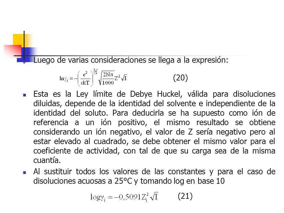 Luego de varias consideraciones se llega a la expresión: Esta es la Ley límite de Debye Huckel, válida para disoluciones diluidas, depende de la ident