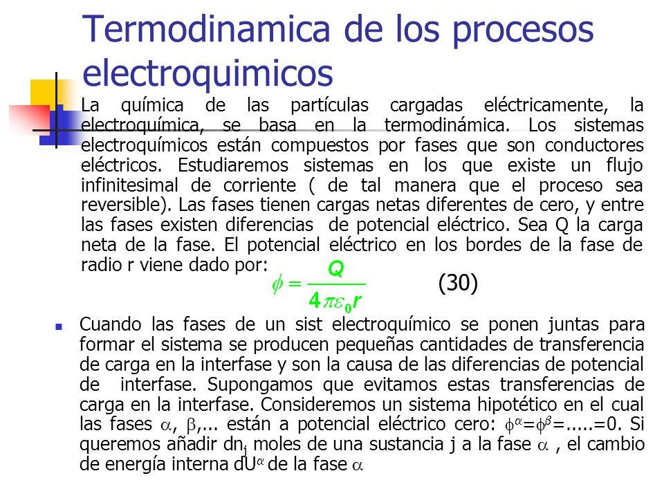 Termodinamica de los procesos electroquimicos La química de las partículas cargadas eléctricamente, la electroquímica, se basa en la termodinámica. Lo