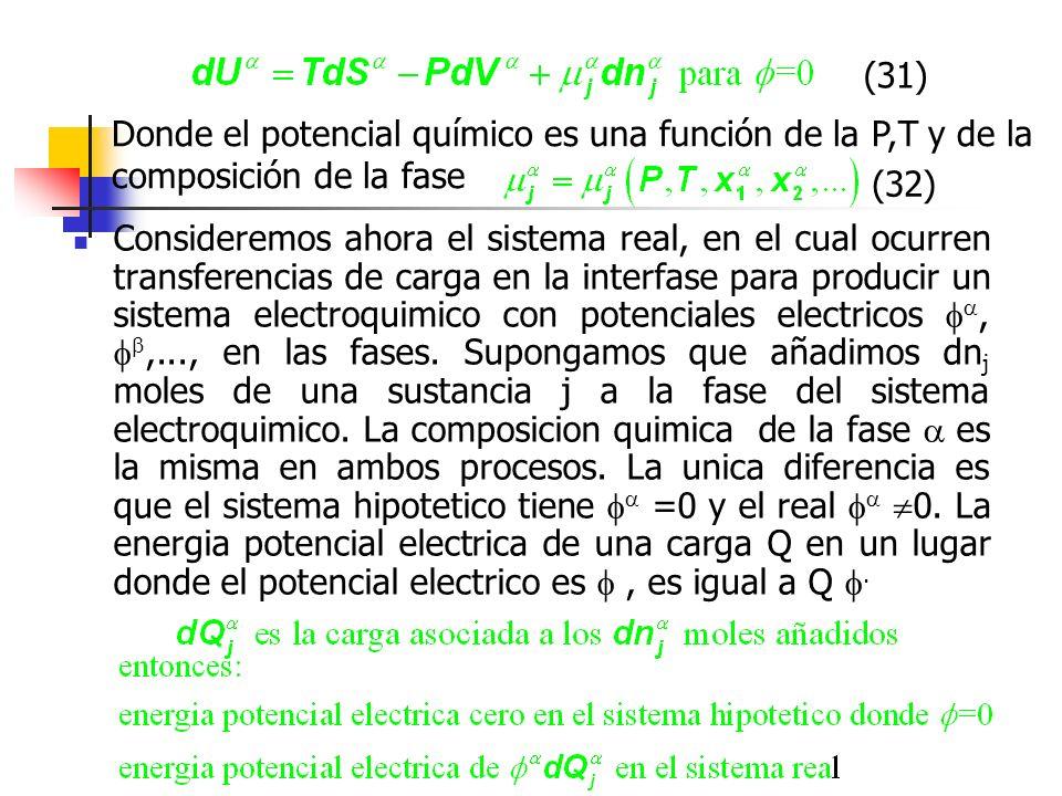 Donde el potencial químico es una función de la P,T y de la composición de la fase (31) (32) Consideremos ahora el sistema real, en el cual ocurren tr