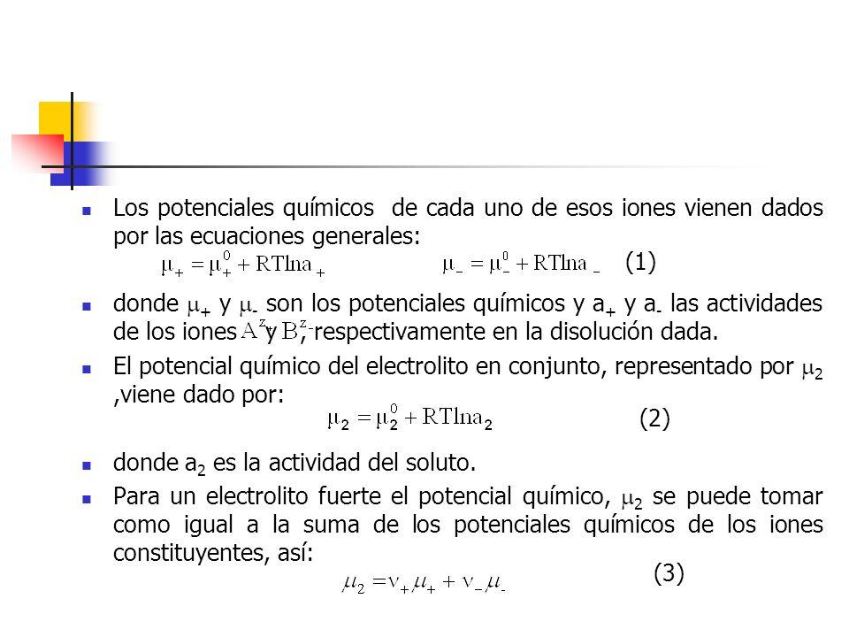 Los potenciales químicos de cada uno de esos iones vienen dados por las ecuaciones generales: donde + y - son los potenciales químicos y a + y a - las
