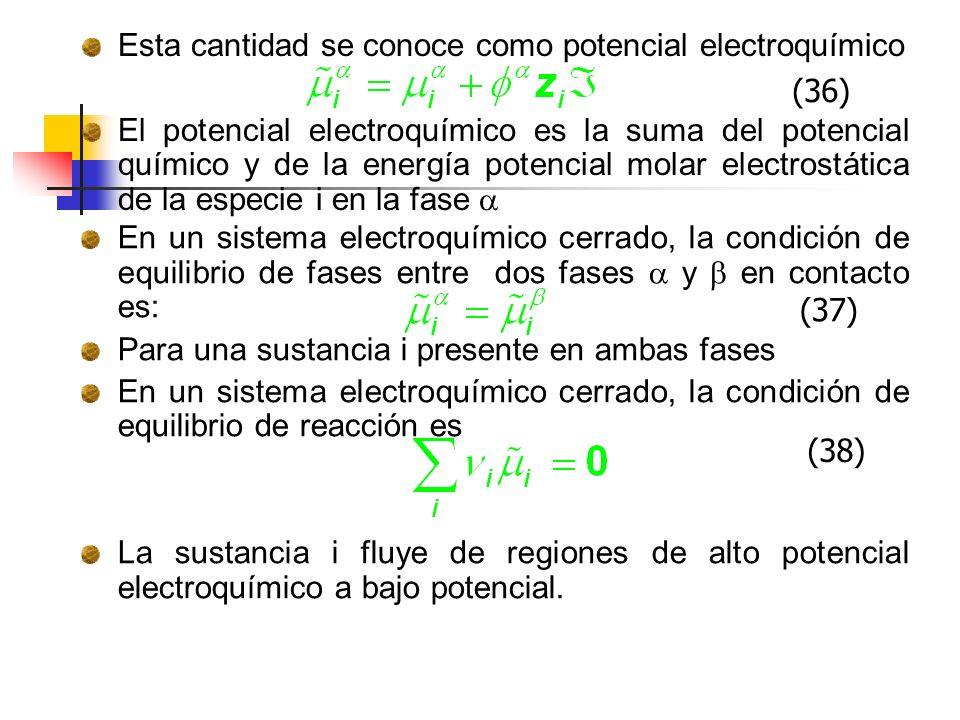 Esta cantidad se conoce como potencial electroquímico El potencial electroquímico es la suma del potencial químico y de la energía potencial molar ele