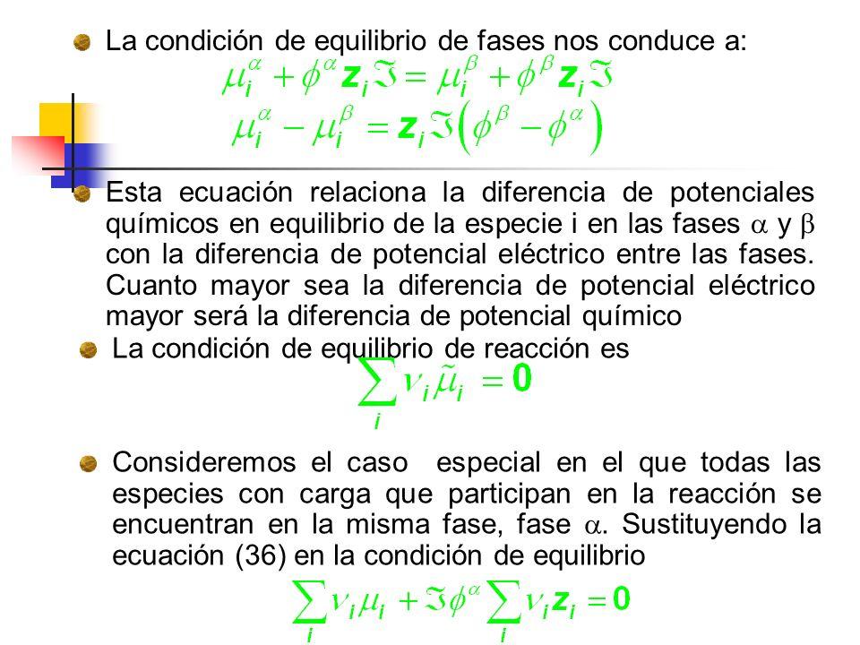 La condición de equilibrio de fases nos conduce a: Esta ecuación relaciona la diferencia de potenciales químicos en equilibrio de la especie i en las