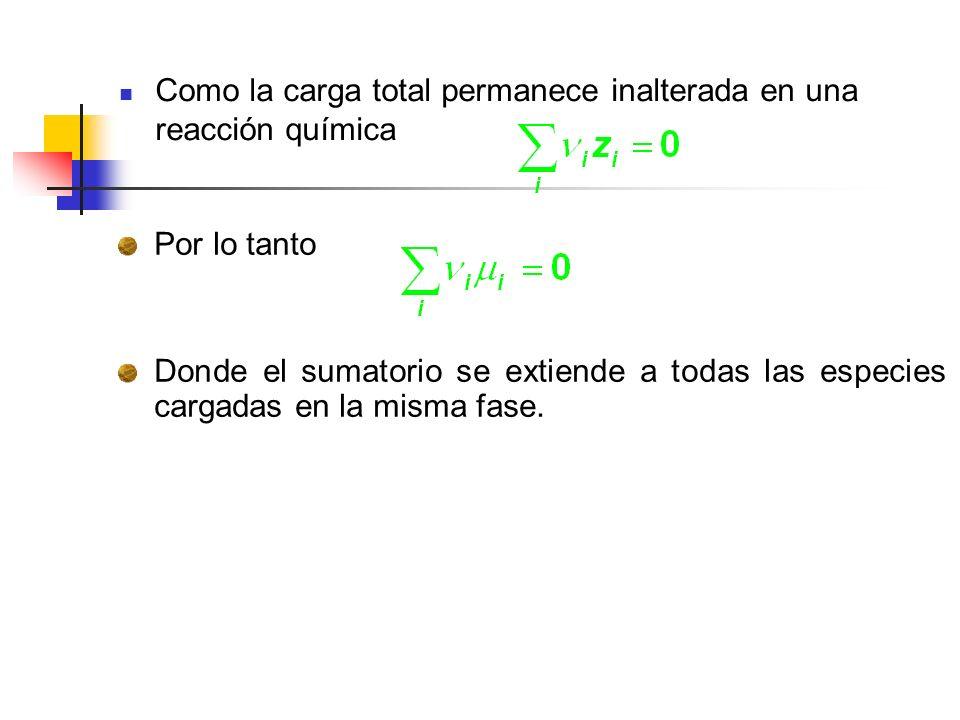 Como la carga total permanece inalterada en una reacción química Por lo tanto Donde el sumatorio se extiende a todas las especies cargadas en la misma