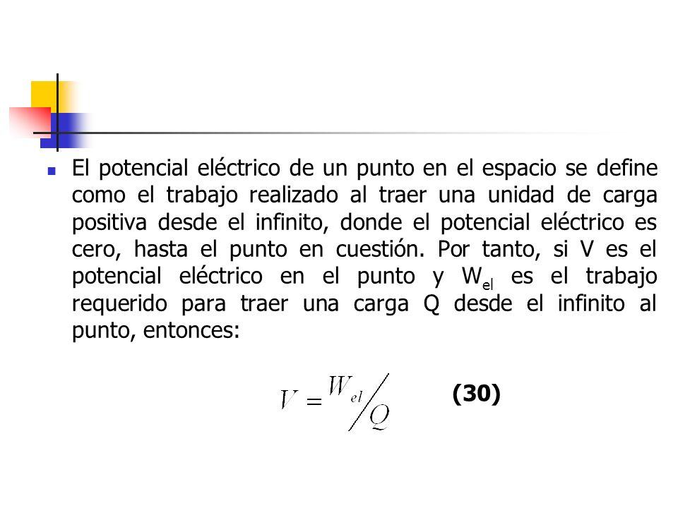 El potencial eléctrico de un punto en el espacio se define como el trabajo realizado al traer una unidad de carga positiva desde el infinito, donde el