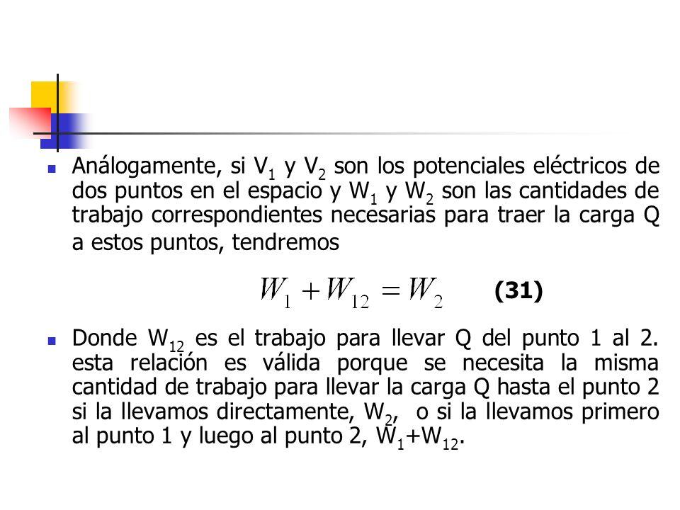 Análogamente, si V 1 y V 2 son los potenciales eléctricos de dos puntos en el espacio y W 1 y W 2 son las cantidades de trabajo correspondientes neces