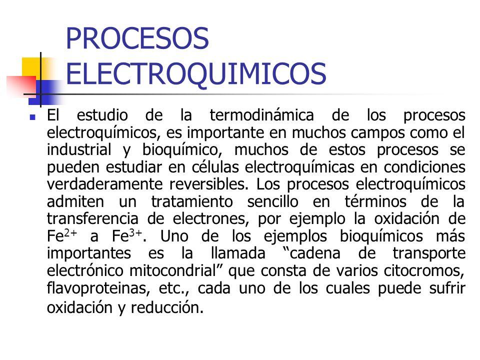 PROCESOS ELECTROQUIMICOS El estudio de la termodinámica de los procesos electroquímicos, es importante en muchos campos como el industrial y bioquímic
