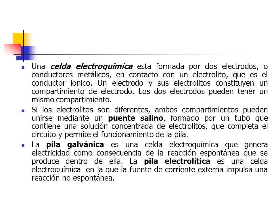 Una celda electroquimica esta formada por dos electrodos, o conductores metálicos, en contacto con un electrolito, que es el conductor ionico. Un elec