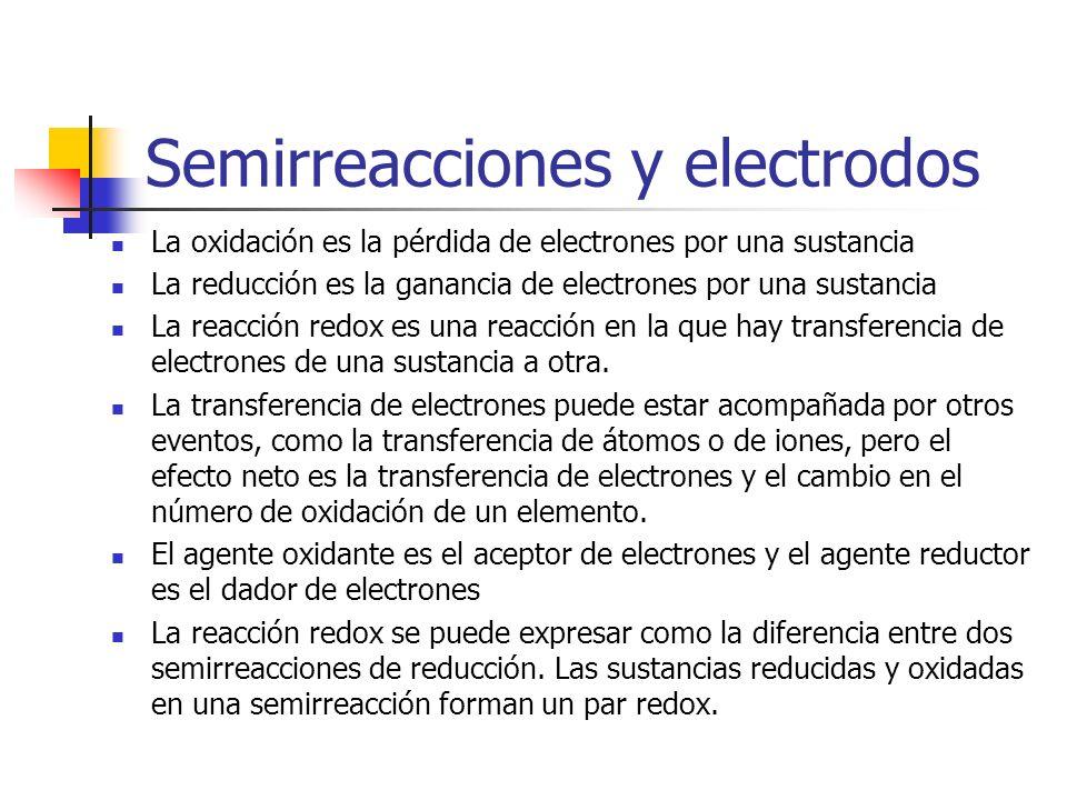 Semirreacciones y electrodos La oxidación es la pérdida de electrones por una sustancia La reducción es la ganancia de electrones por una sustancia La