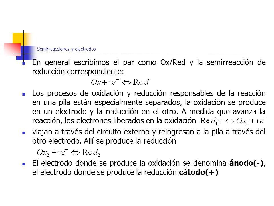 Semirreacciones y electrodos En general escribimos el par como Ox/Red y la semirreacción de reducción correspondiente: Los procesos de oxidación y red
