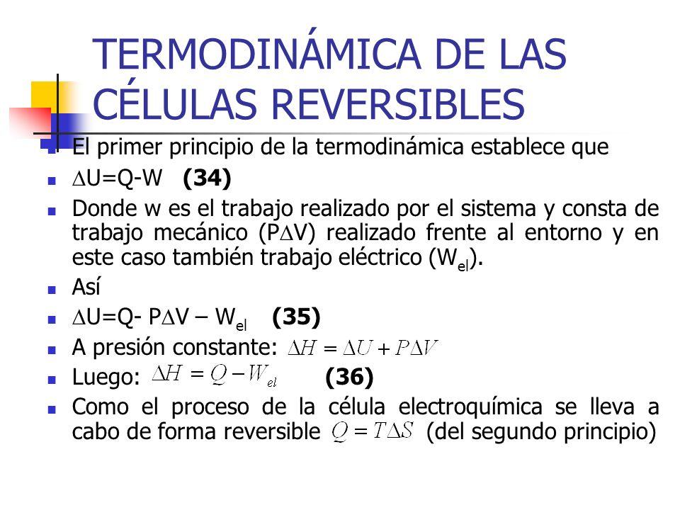 TERMODINÁMICA DE LAS CÉLULAS REVERSIBLES El primer principio de la termodinámica establece que U=Q-W(34) Donde w es el trabajo realizado por el sistem