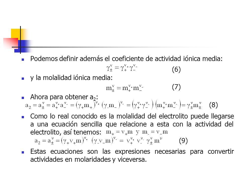 Esta ecuación enseña que en la celda de concentración con transferencia pasan t- equivalentes de ácido clorhídrico desde la solución de actividad 2 a la de actividad 1 por cada faradio de electricidad.