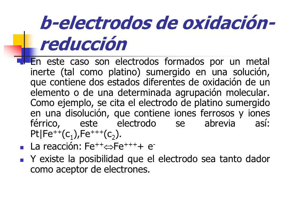 b-electrodos de oxidación- reducción En este caso son electrodos formados por un metal inerte (tal como platino) sumergido en una solución, que contie
