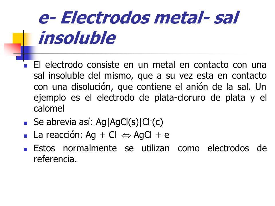 e- Electrodos metal- sal insoluble El electrodo consiste en un metal en contacto con una sal insoluble del mismo, que a su vez esta en contacto con un