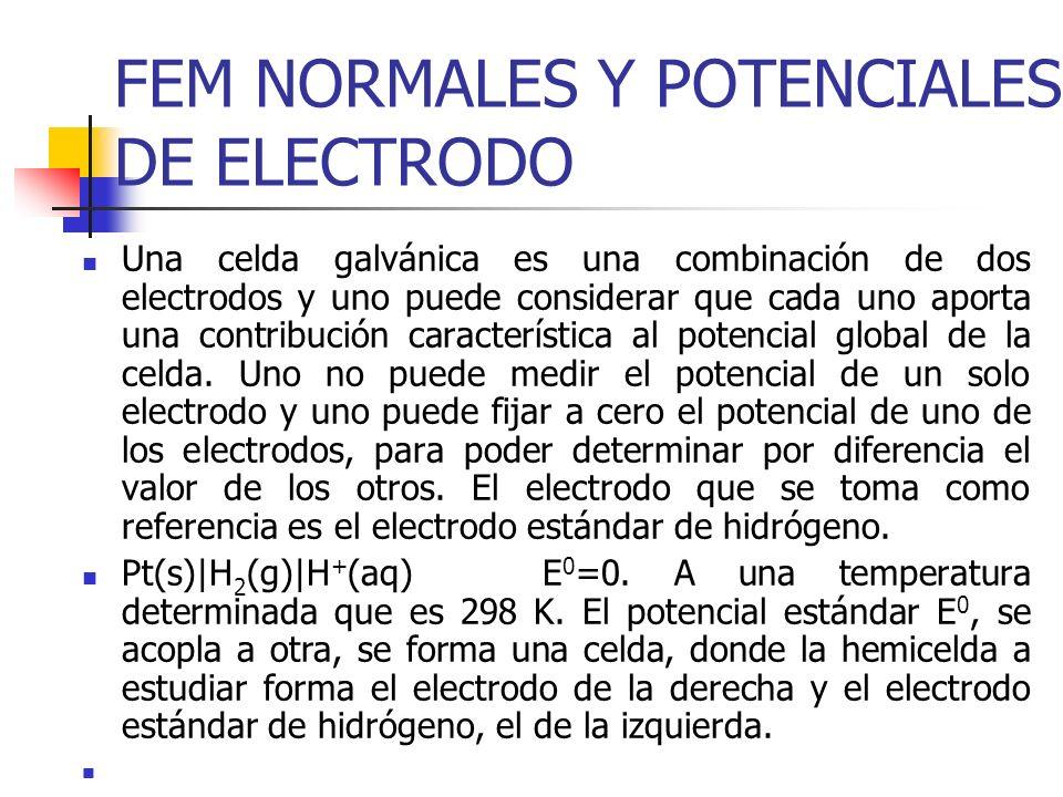 FEM NORMALES Y POTENCIALES DE ELECTRODO Una celda galvánica es una combinación de dos electrodos y uno puede considerar que cada uno aporta una contri
