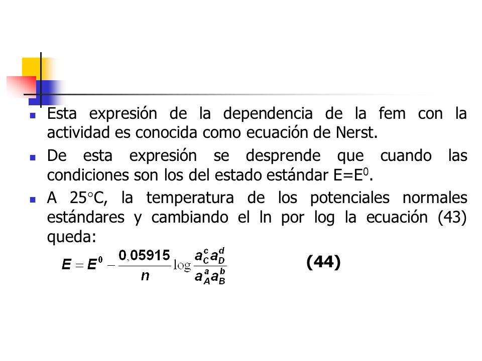 Esta expresión de la dependencia de la fem con la actividad es conocida como ecuación de Nerst. De esta expresión se desprende que cuando las condicio