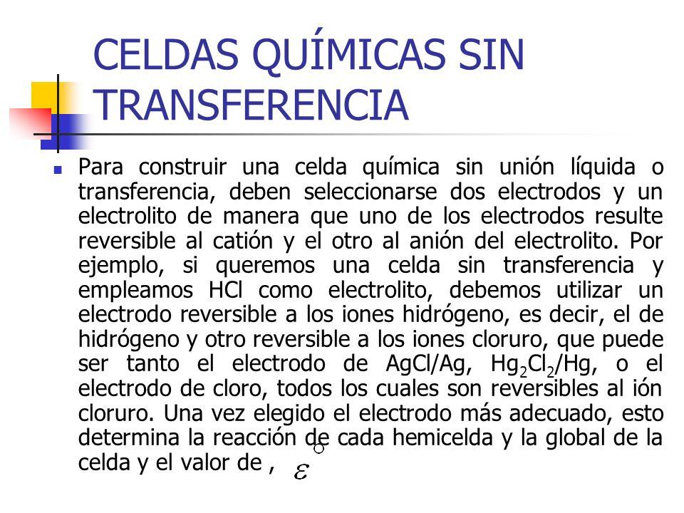 CELDAS QUÍMICAS SIN TRANSFERENCIA Para construir una celda química sin unión líquida o transferencia, deben seleccionarse dos electrodos y un electrol