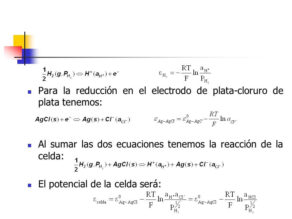 Para la reducción en el electrodo de plata-cloruro de plata tenemos: Al sumar las dos ecuaciones tenemos la reacción de la celda: El potencial de la c