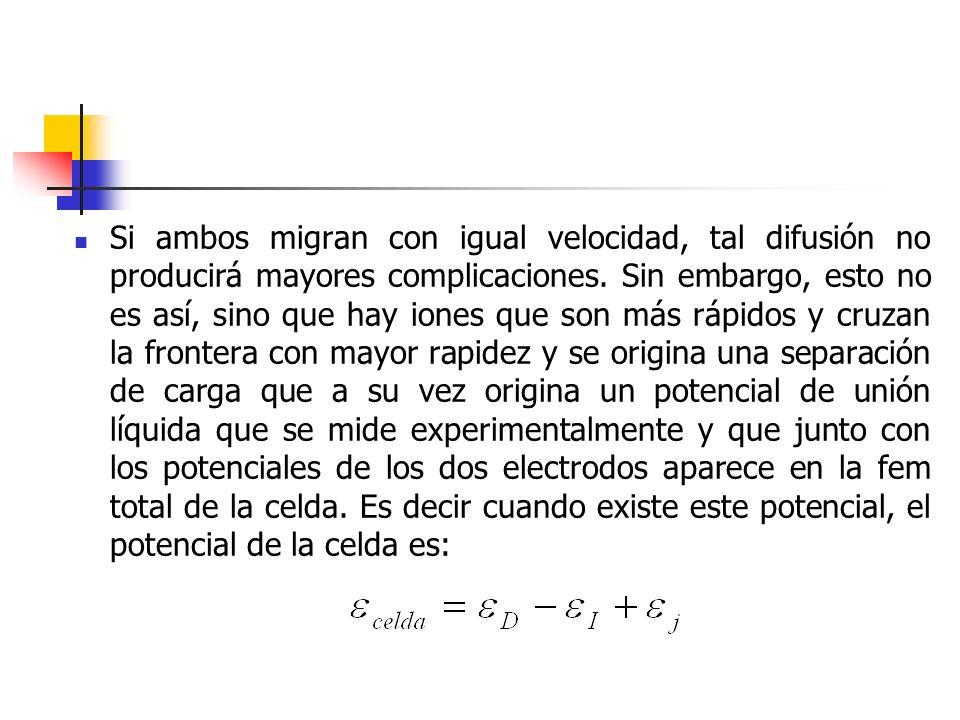 Si ambos migran con igual velocidad, tal difusión no producirá mayores complicaciones. Sin embargo, esto no es así, sino que hay iones que son más ráp