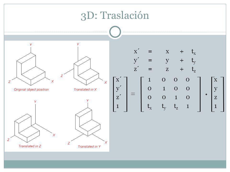 3D: Traslación x´1000x y´0100y z´0010z 1t x t y t z 11 x´=x+t x y´=y+t y z´=z+t z
