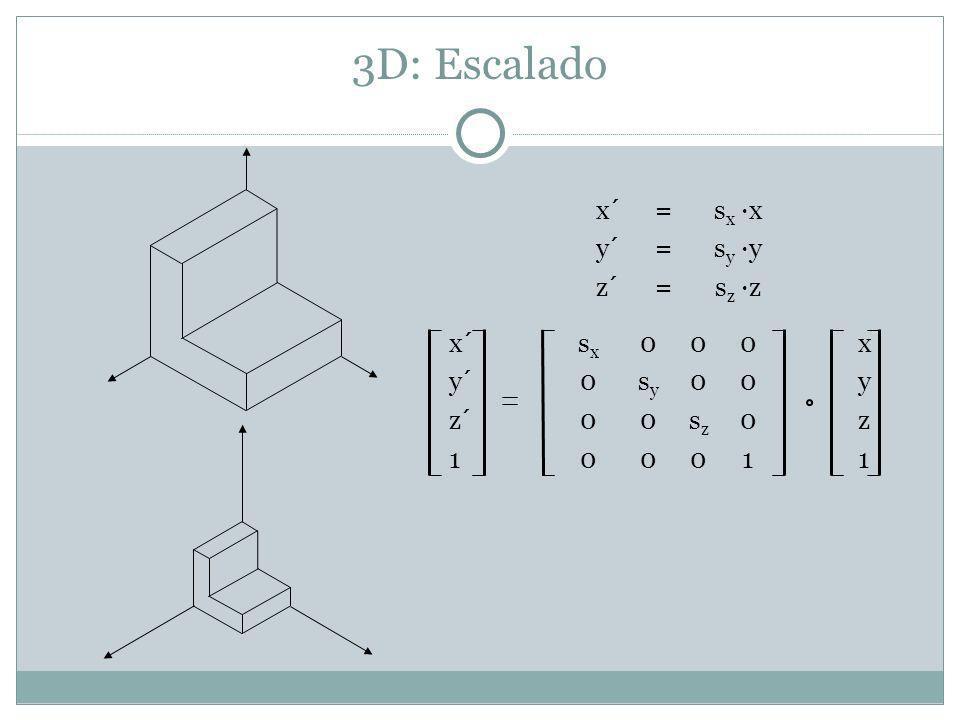 3D: Escalado x´= s x ·x y´= s y ·y z´= s z ·z x´s x 000x y´0s y 00y z´00s z 0z 100011
