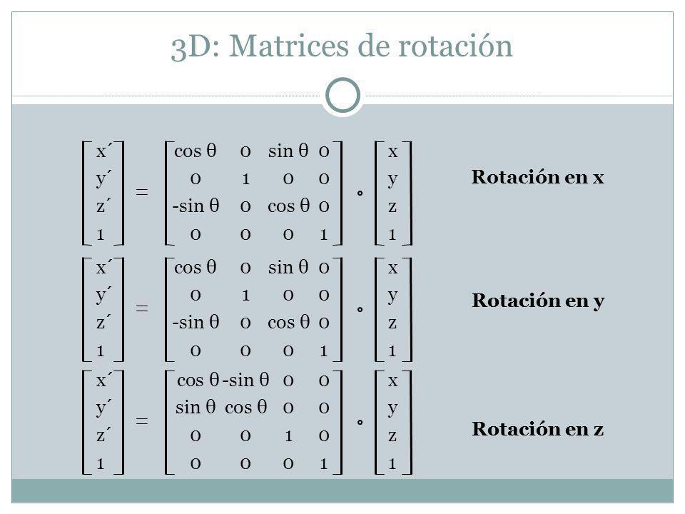 3D: Matrices de rotación Rotación en x x´cos θ 0sin θ 0x y´0100y z´-sin θ 0cos θ0z 100011 Rotación en y x´ cos θ-sin θ00x y´sin θcos θ00y z´0010z 100011 Rotación en z x´cos θ 0sin θ 0x y´0100y z´-sin θ 0cos θ0z 100011 Rotación en y