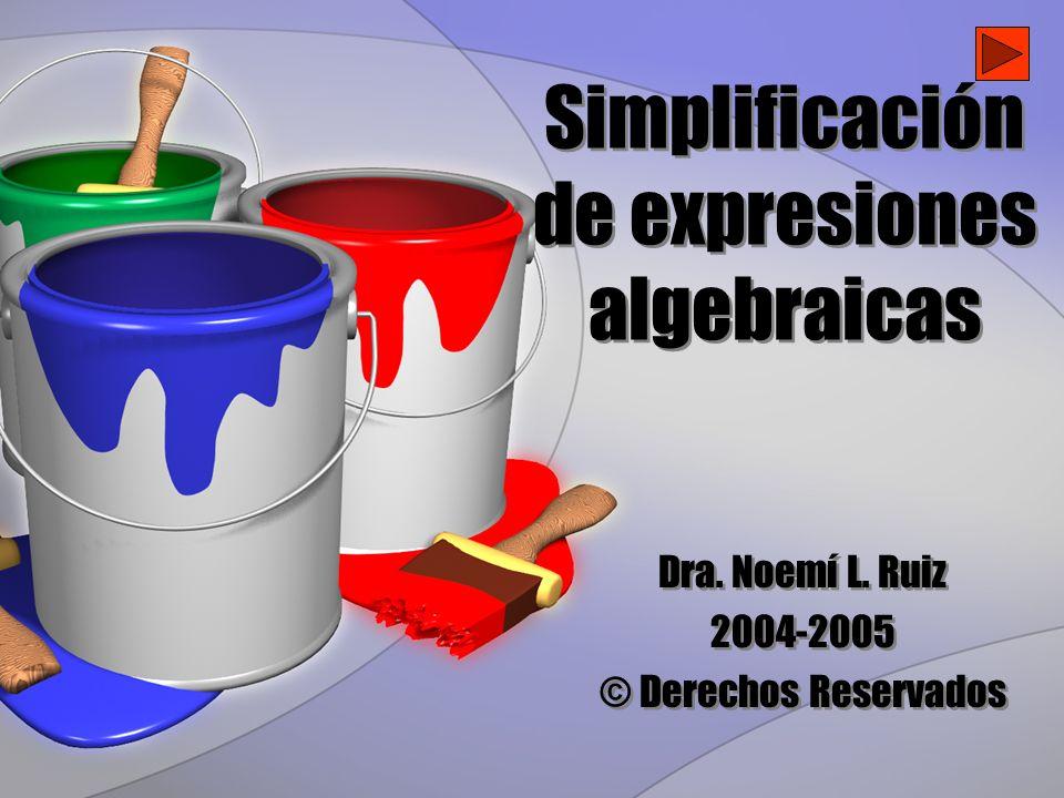 Simplificación de expresiones algebraicas Dra. Noemí L. Ruiz 2004-2005 © Derechos Reservados Dra. Noemí L. Ruiz 2004-2005 © Derechos Reservados