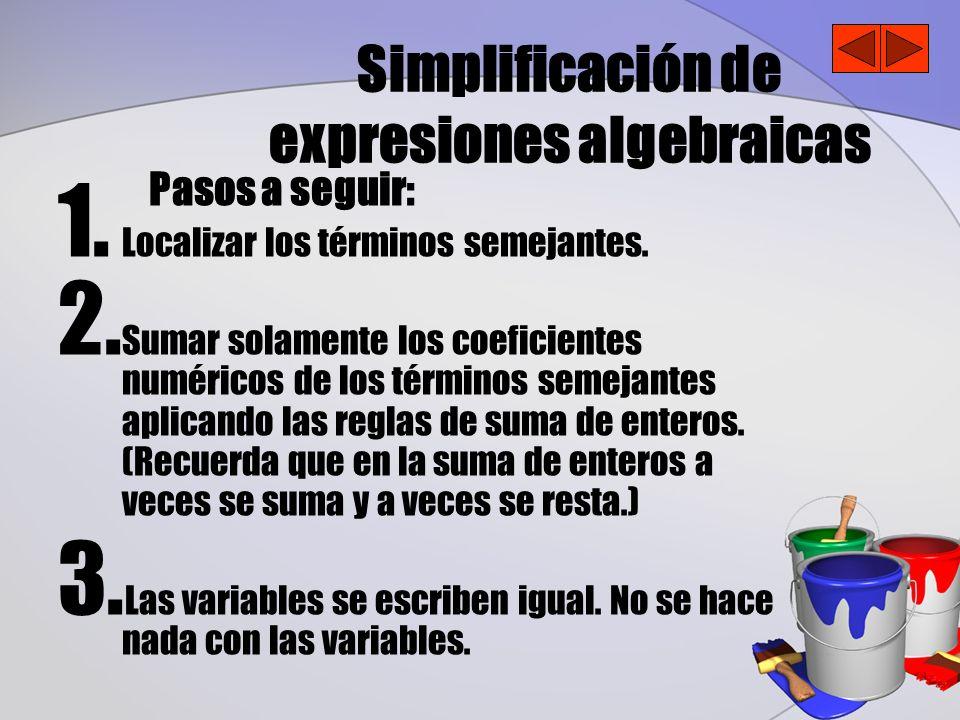 Simplificación de expresiones algebraicas Pasos a seguir: 1. Localizar los términos semejantes. 2. Sumar solamente los coeficientes numéricos de los t