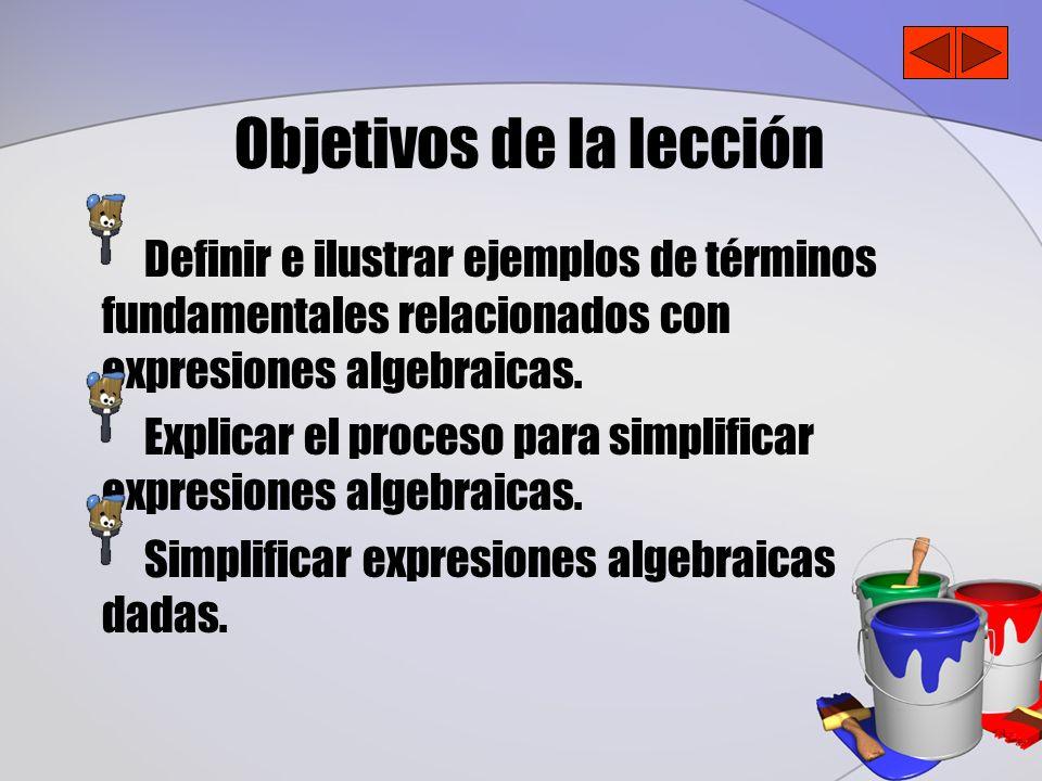 Objetivos de la lección Definir e ilustrar ejemplos de términos fundamentales relacionados con expresiones algebraicas. Explicar el proceso para simpl