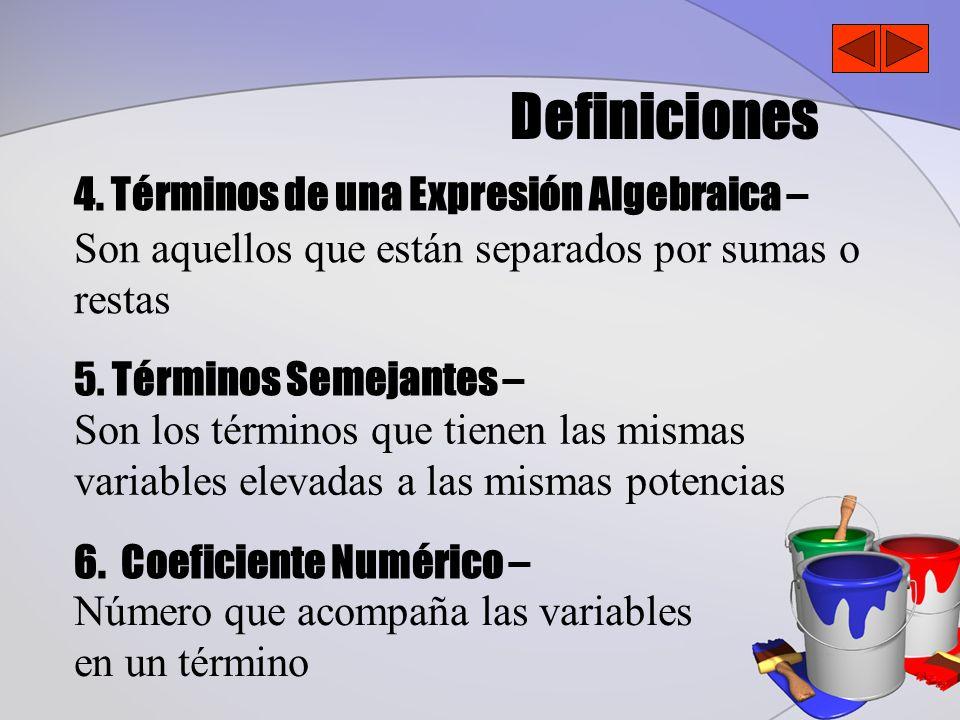Definiciones 4. Términos de una Expresión Algebraica – 5. Términos Semejantes – 6. Coeficiente Numérico – Son aquellos que están separados por sumas o