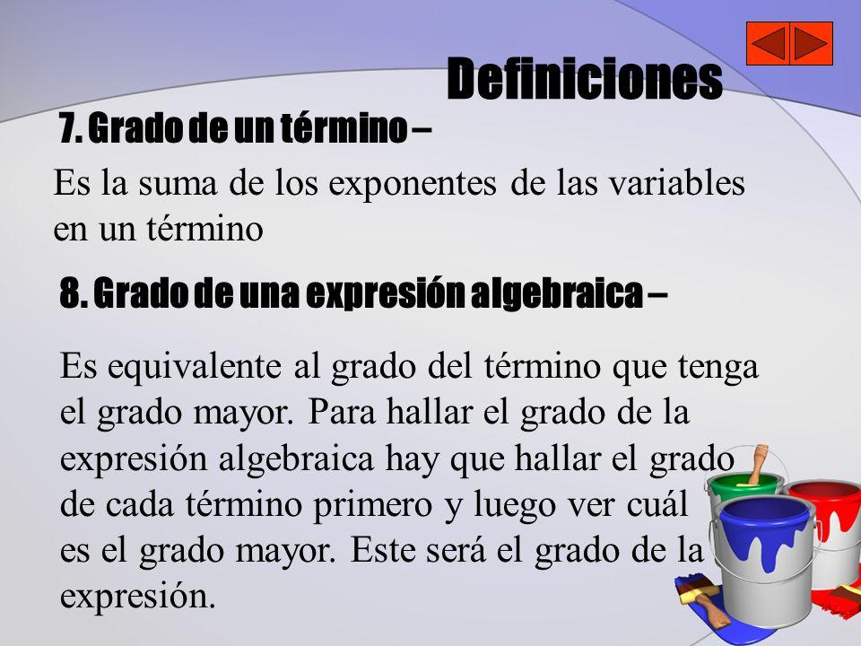 Definiciones 7. Grado de un término – 8. Grado de una expresión algebraica – Es la suma de los exponentes de las variables en un término Es equivalent