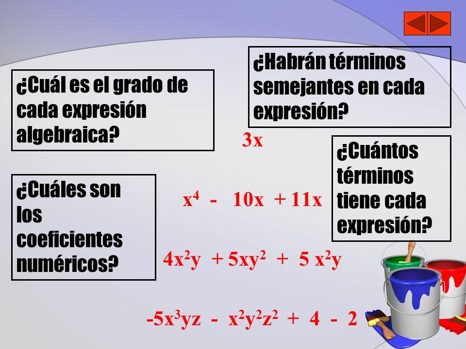3x x 4 - 10x + 11x 4x 2 y + 5xy 2 + 5 x 2 y -5x 3 yz - x 2 y 2 z 2 + 4 - 2 ¿Cuál es el grado de cada expresión algebraica? ¿Habrán términos semejantes