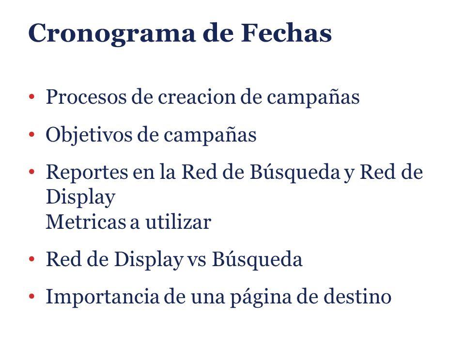 Cronograma de Fechas Procesos de creacion de campañas Objetivos de campañas Reportes en la Red de Búsqueda y Red de Display Metricas a utilizar Red de Display vs Búsqueda Importancia de una página de destino