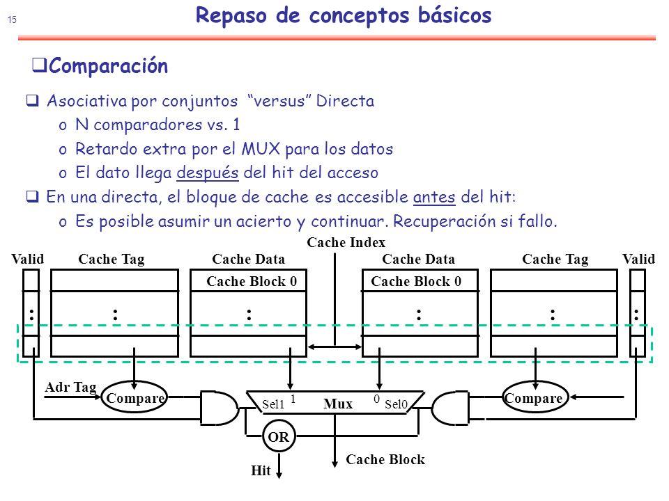 16 Política de actualización :Write-Through vs Write-Back Write-through: Todas las escrituras actualizan la cache y la memoria oSe puede eliminar la copia de cache – Lo datos estan en la memoria oBit de control en la cache: Solo un bit de validez Write-back: Todas las escrituras actualizan solo la cache oNo se pueden eliminar los datos de la cache - Deben ser escritos primero en la memoria oBit de control: Bit de validez y bit de sucio Comparación: oWrite-through: Memoria ( Y otros lectores ) siempre tienen el último valor Control simple oWrite-back: Mucho menor AB, escrituras múltiples en bloque Mejor tolerancia a la alta latencia de la memoria Repaso de conceptos básicos Política de actualización :Asignación o no en fallo de escritura