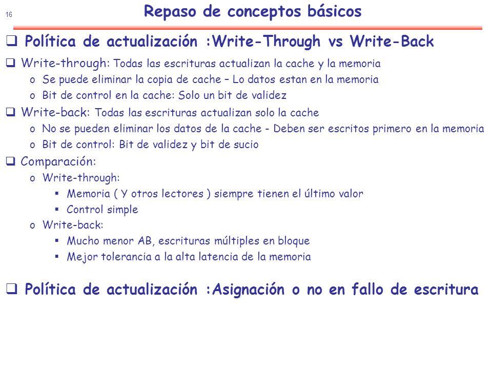 17 Rendimiento 4 aspectos fundamentales Ubicación de un bloque(línea) Emplazamiento directo, asociativo, asociativo por conjuntos Acceso al bloque: uso del índice Tag y bloque(línea) Reemplazamiento del bloque(línea) Aleatorio, LRU Estrategia de escritura Post-escritura( write back), escritura directa ( write through) Tiempo CPU = ( Ciclos CPU + Ciclos de espera memoria)x Tc Ciclos de espera memoria= Accesos a memoria x Tasa de fallos x Tiempo de penalización de fallo Multiplicando y dividiendo por Nº de instr Tiempo CPU = Nº de instr.