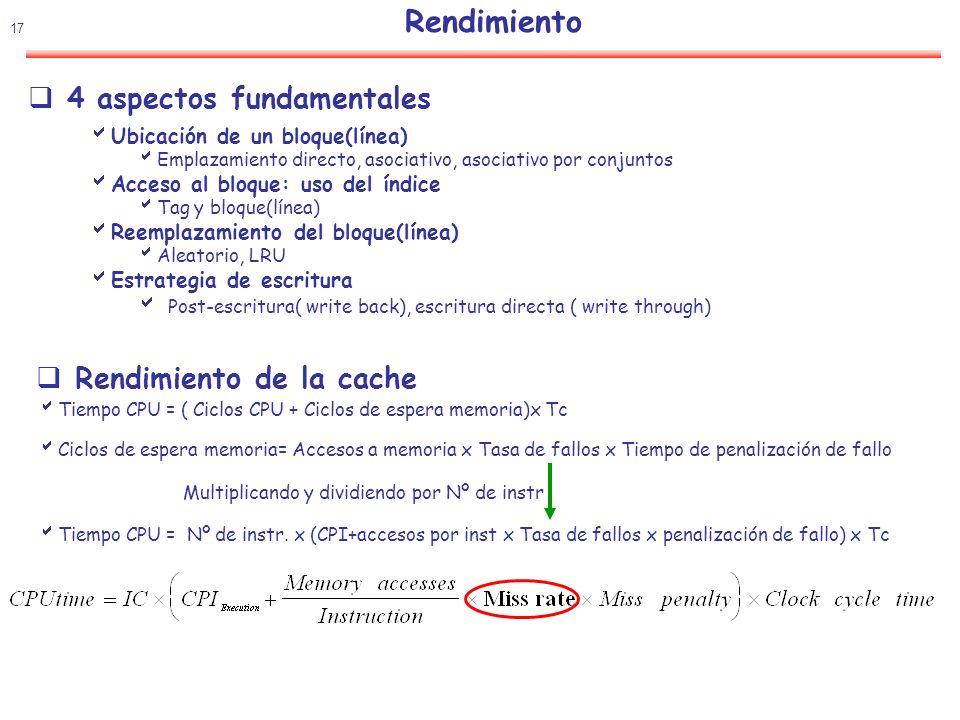 18 Rendimiento: Mejora ¿ Como mejorar el rendimiento de la cache Reducir la tasa de fallos Reducir la penalización del fallo Reducir el tiempo de acceso a la cache Tipos de fallos (3 C´s) Iniciales(Compulsory): Fallos incluso en cache infinita Localidad espacial Capacidad: Tamaño de la cache Localidad temporal Conflicto: Política de emplazamiento Tasa de fallos por tipo (Average SPEC92) Tamaño, asociatividad