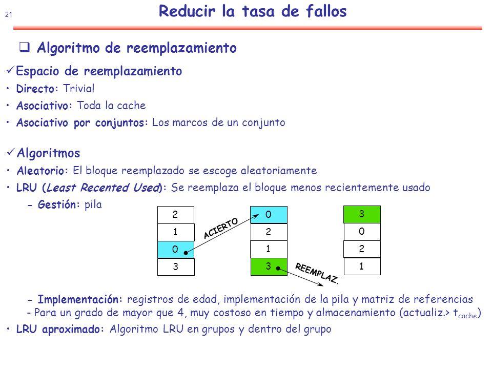 22 Reducir la tasa de fallos Algoritmo de reemplazamiento Influencia del algoritmo de reemplazamiento Grado 2 Grado 4 Grado 8 LRUAleatorioLRUAleatorioLRUAleatorio 16 KB5,18%5,69%4,67%5,29%4,39%4,96% 64 KB1,88%2,01%1,54%1,66%1,39%1,53% 256 KB1,15%1,17%1,13%1,13%1,12%1,12% Observaciones: 1.