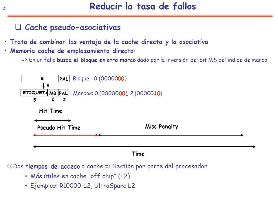 25 Reducir la tasa de fallos Cache pseudo-asociativas Cachéde correspondencia directa con una modificación para que se comporte como asociativas.