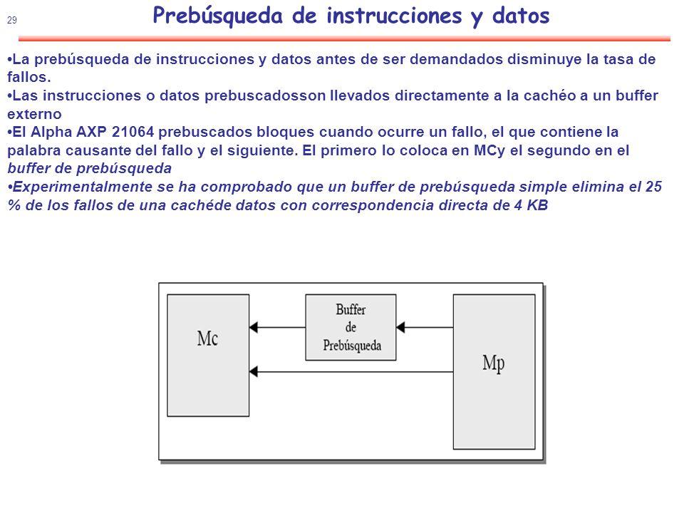 30 Reducir la tasa de fallos Cache con prebúsqueda (ejemplo) Suposición: La penalización por fallo es de tal duración que se necesita iniciar la prebúsqueda 7 iteraciones antes.