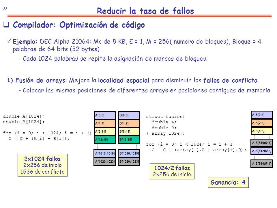 34 Reducir la tasa de fallos Compilador: Optimización de código 3) Intercambio de bucles: Mejora la localidad espacial para disminuir los fallos de conflicto - En lenguaje C las matrices se almacenan por filas, luego se debe variar en el bucle interno la columna 2) Alargamiento de arrays: Mejora la localidad espacial para disminuir los fallos de conflicto - Impedir que en cada iteración del bucle se compita por el mismo marco de bloque B[1020:1023] B[1016:1019] A[0:3] A[1020:1023] A[1016:1019] A[4:7] A[8:11] A[12:15] B[0:3] B[4:7] B[8:11] B[12:15] double A[1024]; double B[1024]; for (i=0; i < 1024; i=i +1) C = C + (A[i] + B[i]); double A[1028]; double B[1024]; for (i=0; i < 1024; i=i+1) C = C + (A[i] + B[i]); double A[128][128]; for (i=0; i < 128;i=i+1) for (j=0; j < 128; j=j+1) C = C * A[i][j]; double A[128][128]; for (j=0; j < 128; j=j+1) for (i=0; i < 128;i=i+1) C = C * A[i][j]; A[0][0:3] A[7]124:127] A[7][120:123]v A[0][4:7] A[0][8:11] A[0][12:15] A[8][0:3] A[8][4:7] A[8][8:11] A[8][12:15] A[15][120:123] A[15][124:127] A[120][0:3] A[120][4:7] A[120][8:11] A[120][12:15] A[127][120:123] A[127][124:127] A[0:3] A[1020:1023] A[1016:1019] A[4:7] A[8:11] A[12:15] A[1024:1027] A[1016:1019] B[1012:1015] B[0:3] B[4:7] B[8:11] B[1016:1019] B[1020:1023] 2x1024 fallos 512 de inicio 1536 de conflicto 1024/2 fallos 512 de inicio Ganancia: 4 128x128 fallos 16x256 de inicio 12288 de conflicto 128x128/4 fallos 16x256 de inicio Ganancia: 4