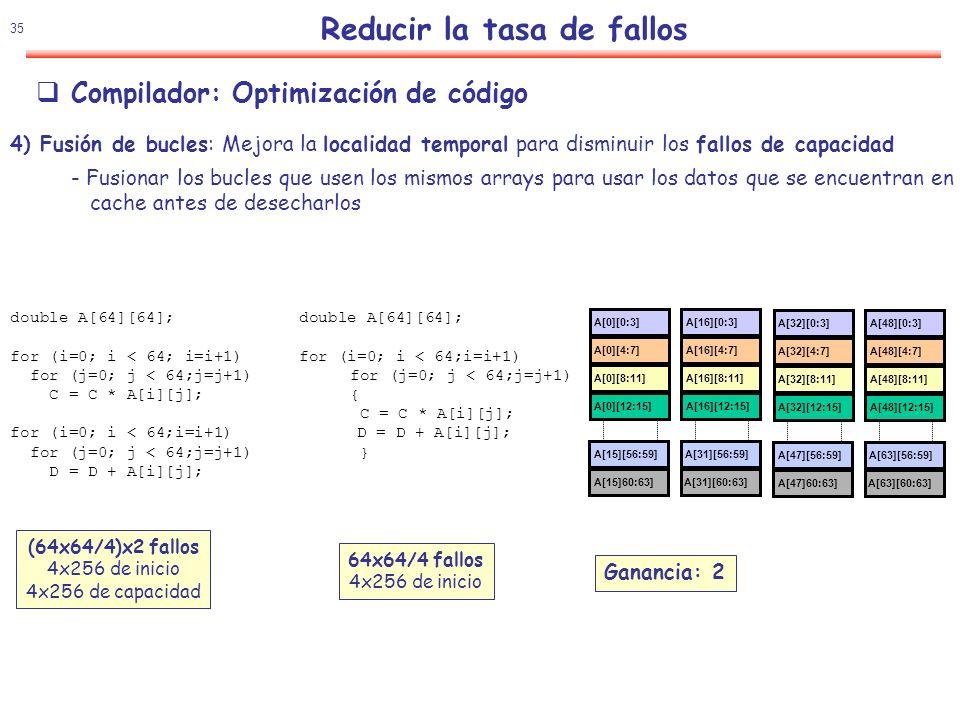 36 Reducir la tasa de fallos Compilador: Optimización de código 5) Calculo por bloques( Blocking): Mejora la localidad temporal para disminuir los fallos de capacidad /* Antes */ for (i=0; i < N; i=i+1) for (j=0; j < N; j=j+1) {r = 0; for (k=0; k < N; k=k+1){ r = r + y[i][k]*z[k][j];}; x[i][j] = r; }; Dos bucles internos: Lee todos los NxN elementos de z Lee N elementos de 1 fila y en cada iteración Escribe N elementos de 1 fila de x Fallos de capacidad dependen de N y Tamaño de la cache: Idea: calcular por submatrices BxB que permita la cache antes Después