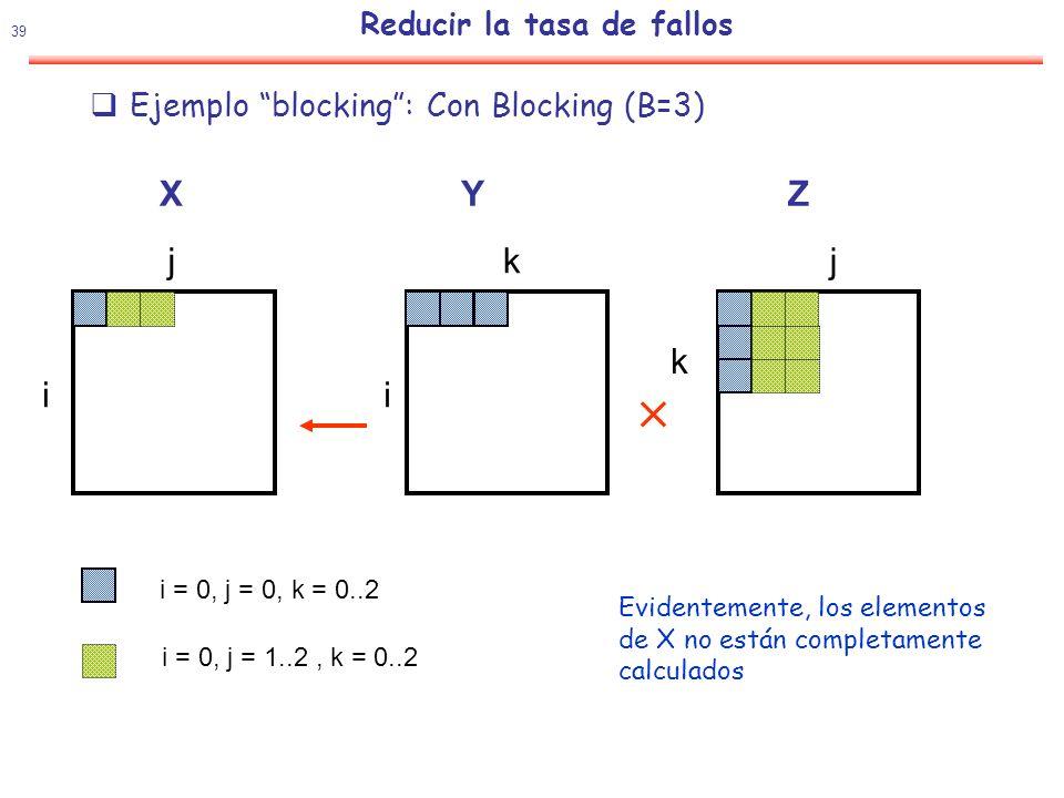 40 Reducir la tasa de fallos Ejemplo blocking: Con Blocking (B=3) XYZ i j i jk k i = 1, j = 0, k = 0..2 i = 1, j = 1..2, k = 0..2 Idea: Procesar el bloque 3x3 de Z antes de quitarlo de la cache