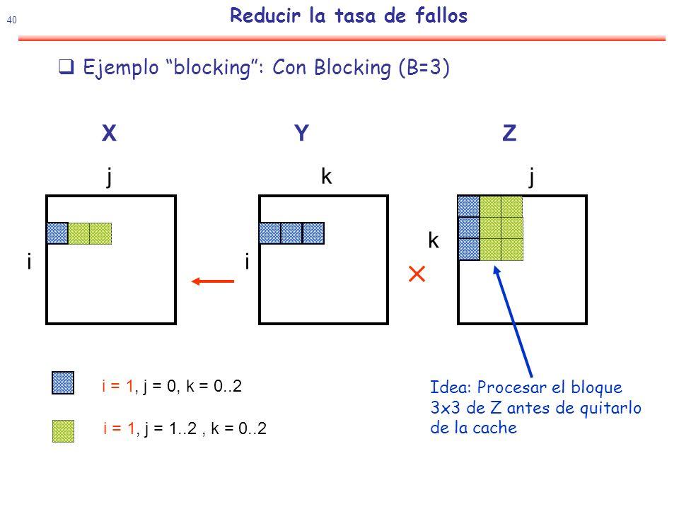 41 Reducir la tasa de fallos Con Blocking (B=3).Algunos pasos después...