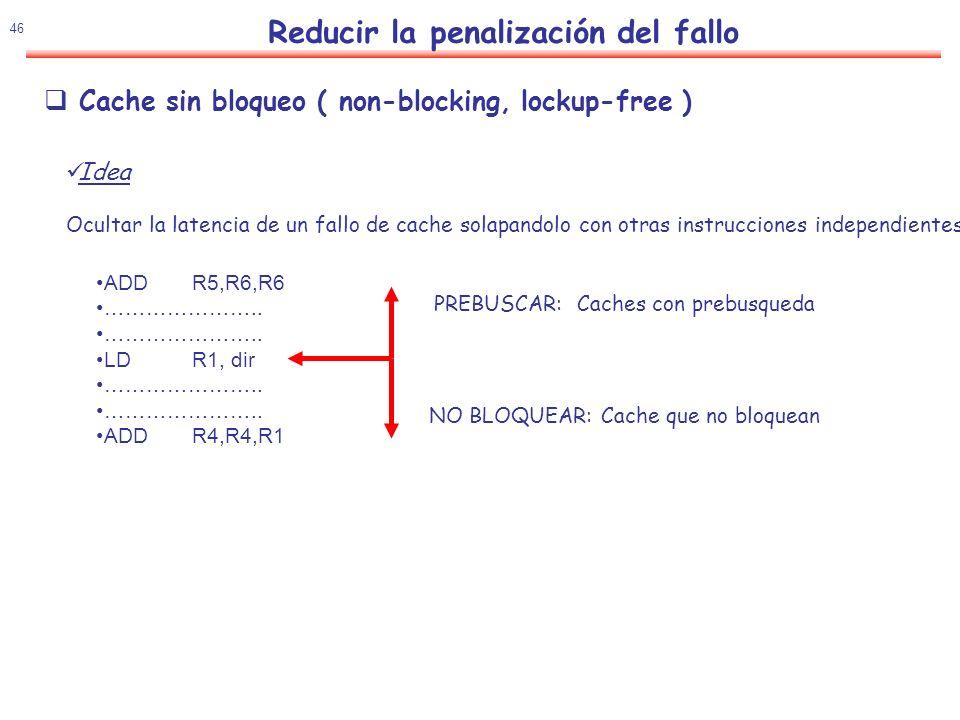 47 Reducir la penalización del fallo Permite que la ejecución siga aunque se produzca un fallo mientras ni se necesite el dato Un fallo sin servir.