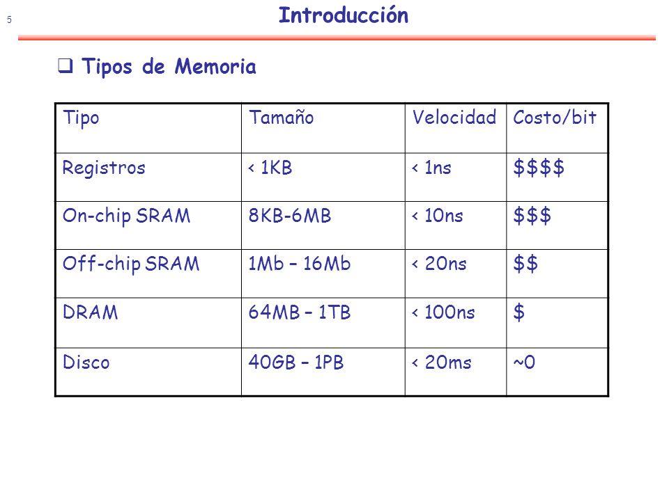 6 Introducción Optimizar el uso de la memoria Hacer que el usuario tenga la ilusión de que dispone de una memoria con: Tiempo de acceso similar al del sistema más rápido Coste por bit similar al del sistema más barato La mayor parte de los accesos a un bloque de información, este bloque debe encontrarse en los niveles altos (bajos) de la memoria Se refiere a la gestión dinámica, en tiempo de ejecución de la jerarquía de memoria Esta gestión de la memoria sólo afecta a los niveles 1 (cache), 2 (mem.