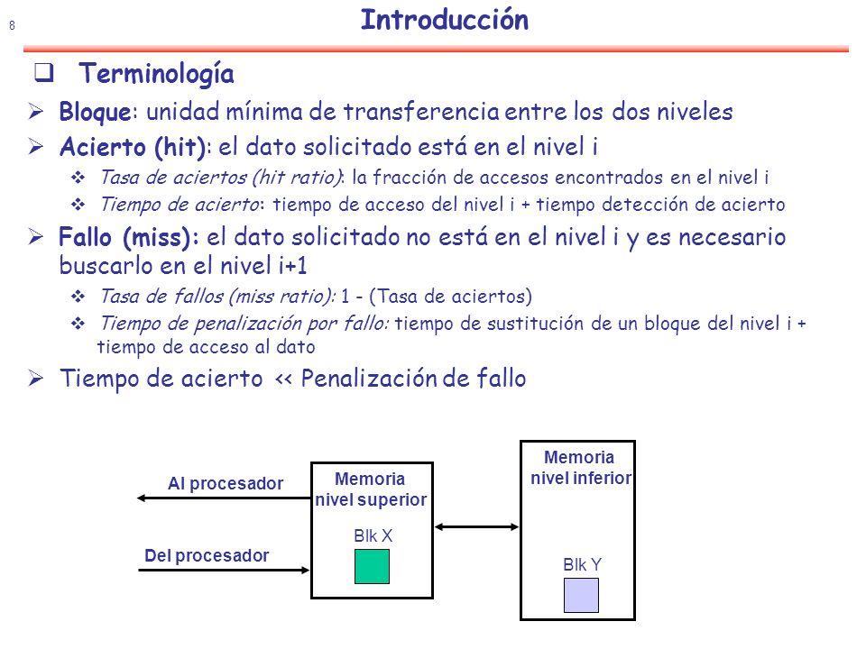 9 Introducción Gap memoria -procesador El problema La demanda de anchura de banda con memoria crece.
